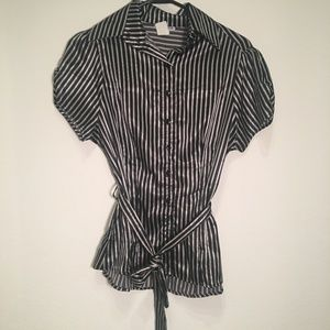 50% OFF BUNDLES - Black and white striped blouse
